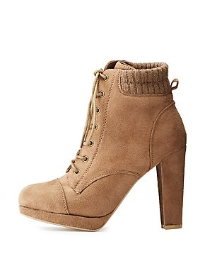 Wide-Width Faux Suede Lace-Up Booties