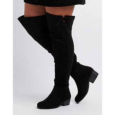 Wide Width Lace-Up Over-The-Knee Boots