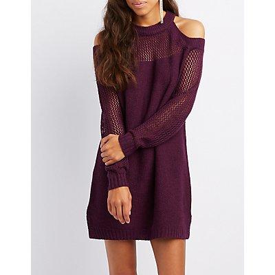 Shaker Stitch Cold Shoulder Sweater Dress
