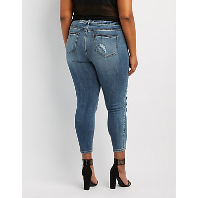 Plus Size Cello Fishnet-Inset Destroyed Skinny Jeans