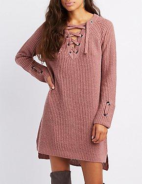 Shaker Stitch Lattice-Front Sweater Dress