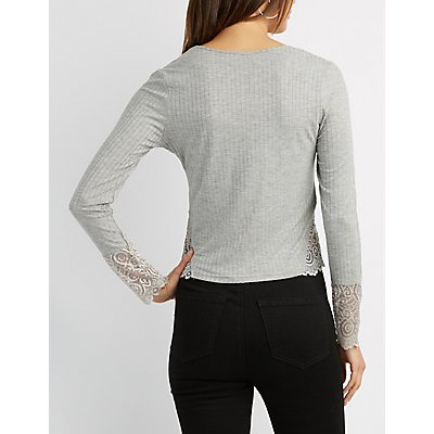 Ribbed Knit Lace-Detailed Top
