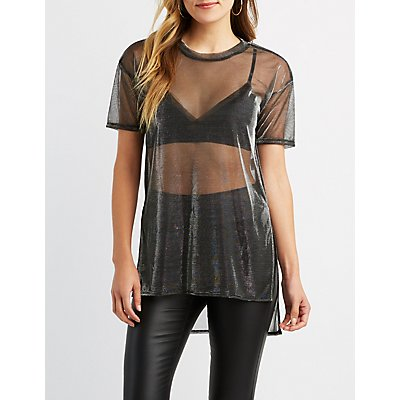 Sheer Metallic Mesh Tunic
