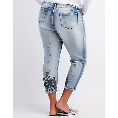 Plus Size Floral Embroidered Destroyed Boyfriend Jeans