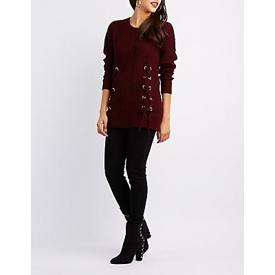 Cable Front Lace-Up Detail Sweater