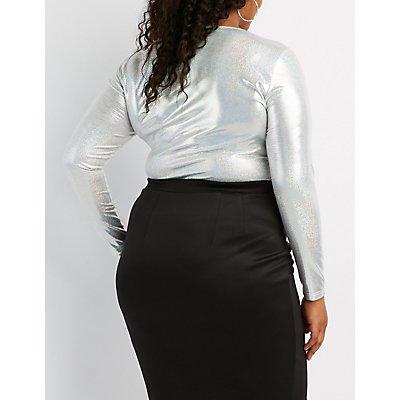 Plus Size Lattice-Front Holographic Bodysuit