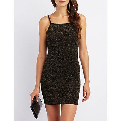 Glitter Open-Back Bodycon Dress