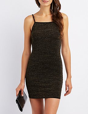 Glitter Open-Back Bodycon Dress