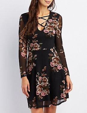 Floral Mesh Caged Skater Dress