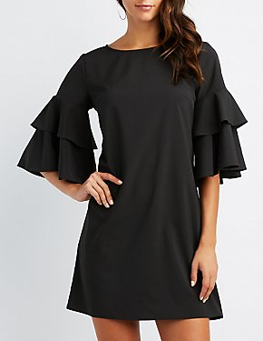 Ruffle-Tiered Bell Sleeve Shift Dress