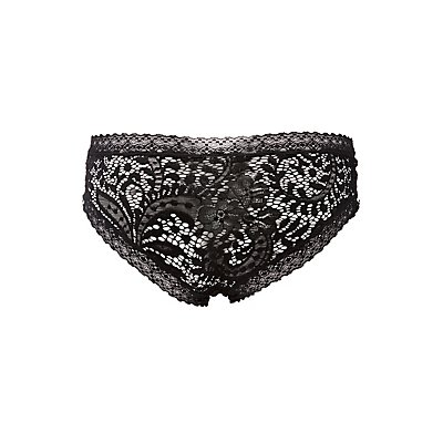 Mixed Lace Lace-Up Detail Hipster Panties