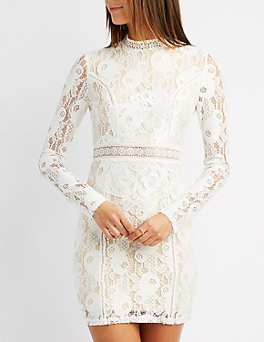Lace Mock Neck Bodycon Dress