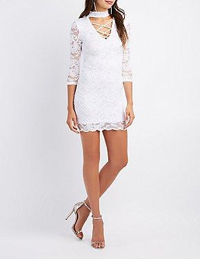 Lace Choker Neck Lattice-Front Bodycon Dress