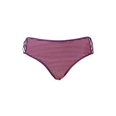 Plus Size Striped Caged Hipster Panties
