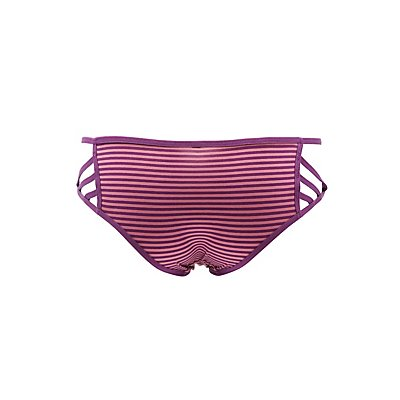Striped Caged Hipster Panties