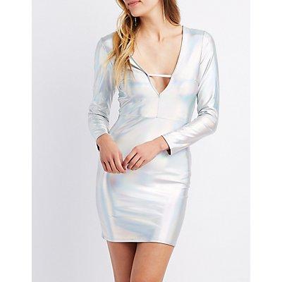 Holographic Caged V-Neck Dress