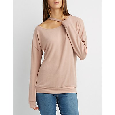 Cut-Out Pullover Sweatshirt