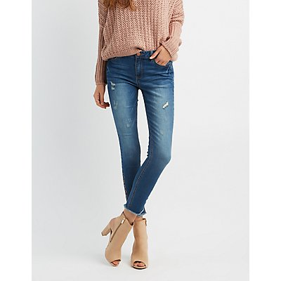 Refuge Destroyed Grommet-Detail Skinny Jeans