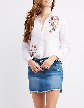 Embroidered Tie-Back Button-Up Top