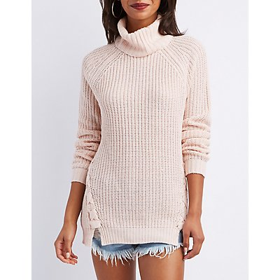 Lace-Up Detail Cowl Neck Tunic