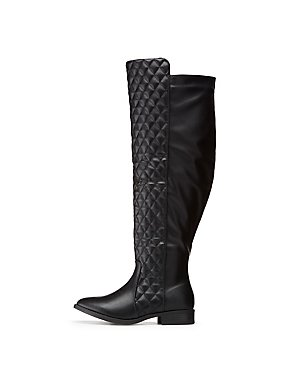 Wide Width Quilted Riding Boots