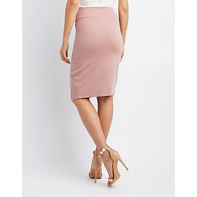 Ponte Knit Bodycon Pencil Skirt