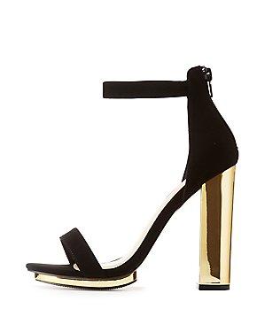 Wide Width Two-Piece Metallic Heel Sandals