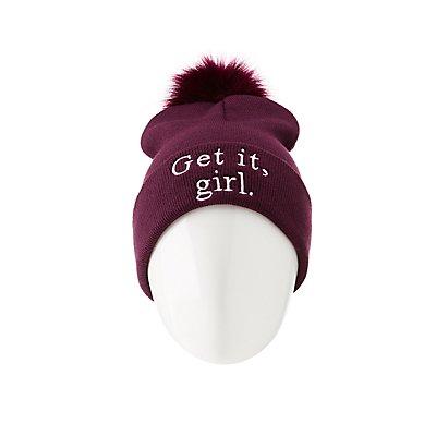 Get It Girl Pom Pom Beanie