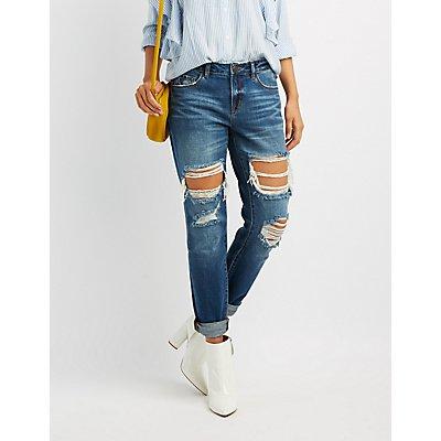 Refuge Destroyed Boyfriend Crop Jeans
