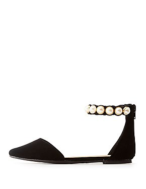 Faux Pearl-Trim Pointed Toe Flats