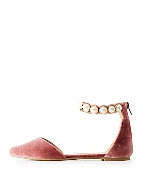 Faux Pearl Embellished Velvet Pointed Toe Flats