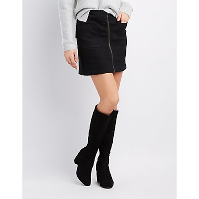 Zip-Front Denim Skirt