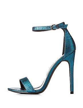 Brocade Ankle Strap Sandals