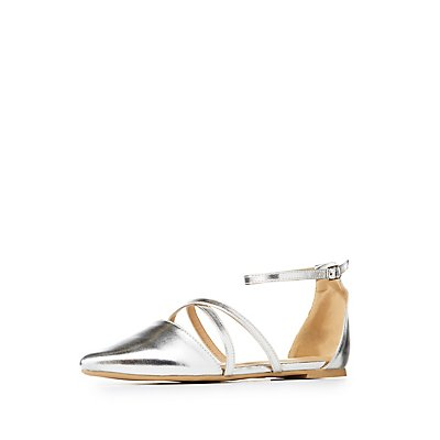 Metallic Caged Pointed Toe D'Orsay Flats