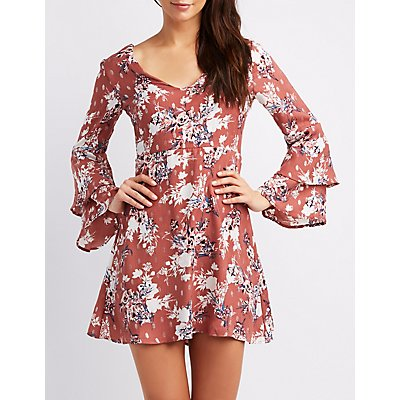 Floral Tiered Bell Sleeve Skater Dress