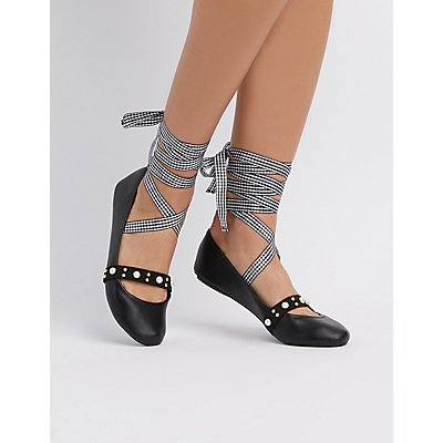 Qupid Embellished Lace-Up Ballet Flats