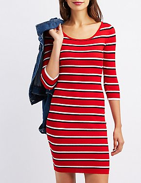 Striped Ribbed Bodycon Sweater Dress