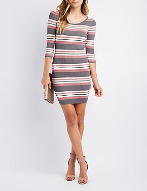 Striped & Ribbed Knit Bodycon Dress