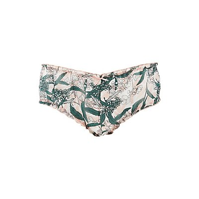Printed Ruffle-Trim Boyshort Panties