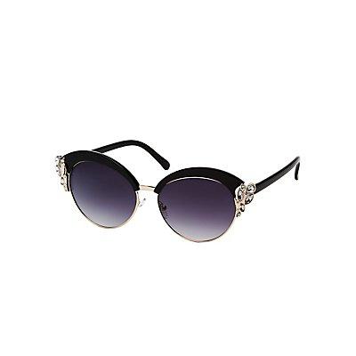Rhinestone-Trim Cat Eye Sunglasses
