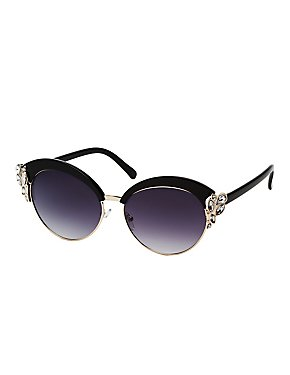 Rhinestone-Trim Cat Eye Sunglasses