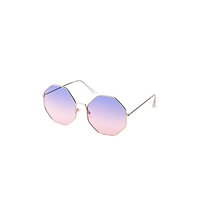 Ombre Round Metal Frame Sunglasses