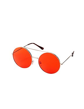Oversized Metal-Trim Round Sunglasses