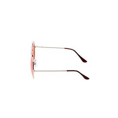 Oversized Metal-Trim Round Sunglasses