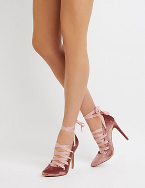 Velvet Lace-Up Pumps