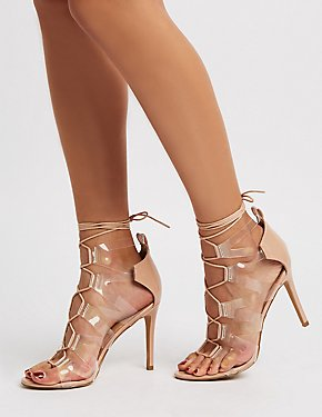 Caged Clear Lace-Up Dress Sandals
