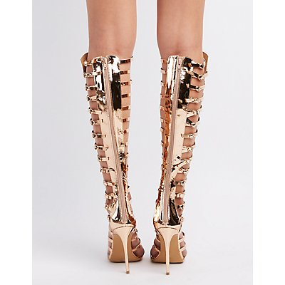 Peep Toe Caged Boots