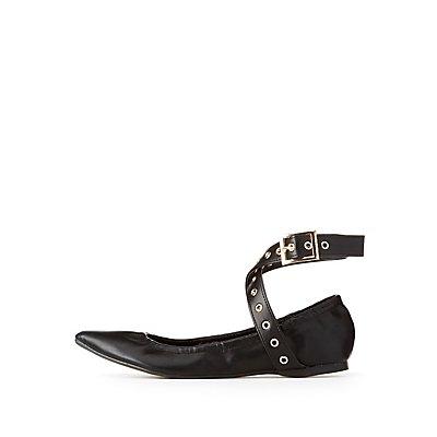 Grommet Ankle Strap Ballet Flats
