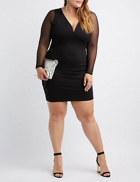 Plus Size Mesh Long Sleeve Bodycon Dress Charlotte Russe