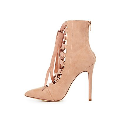Lace-Up Pointed Toe Booties